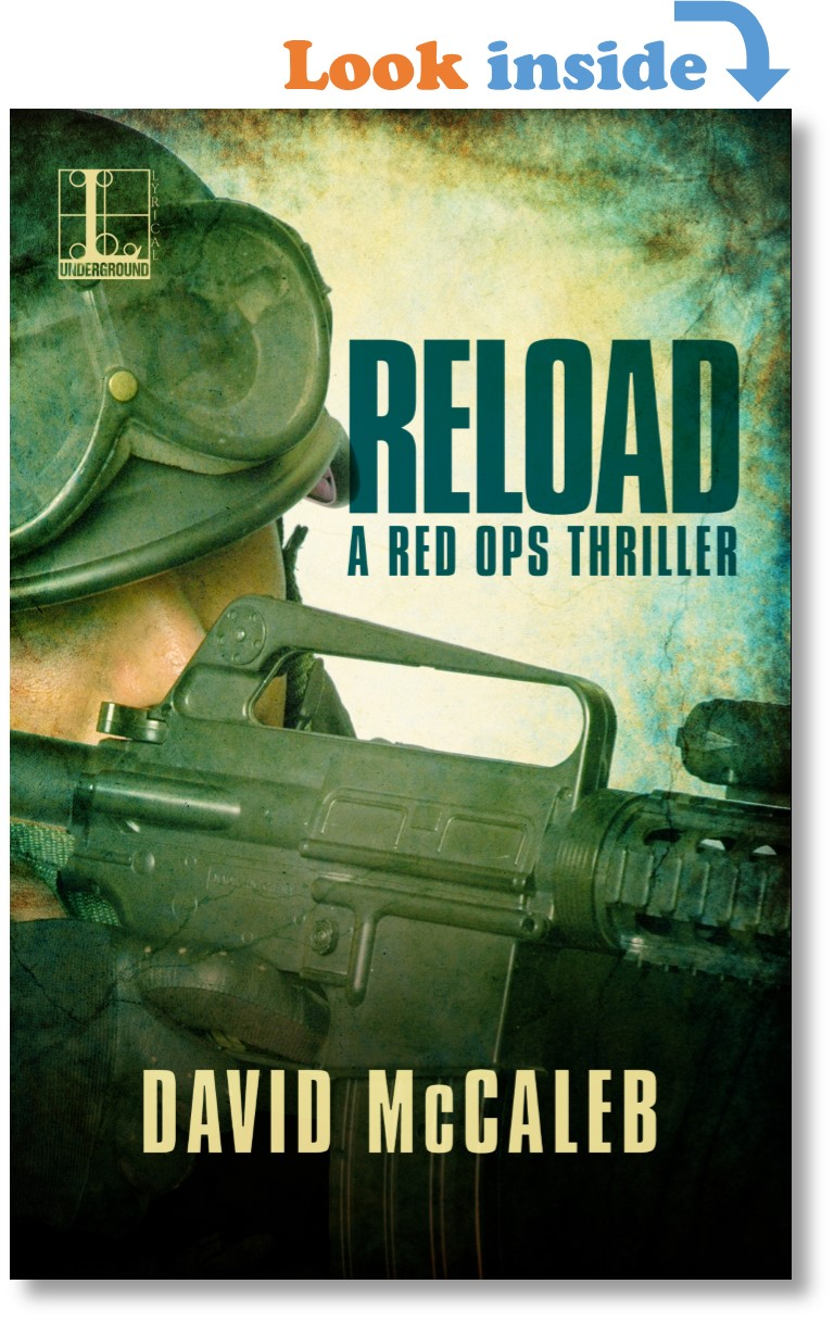 Cover RELOAD the novel, a military operator sighting down an M4