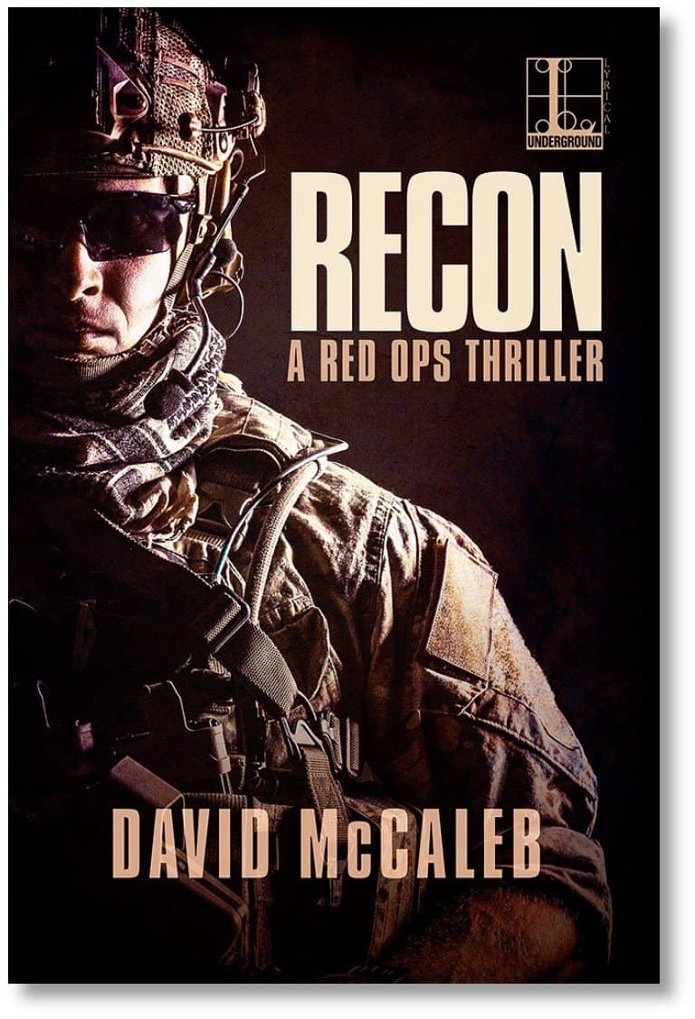 Cover RECON novel FINAL shadow, soldier in full battle rattle.