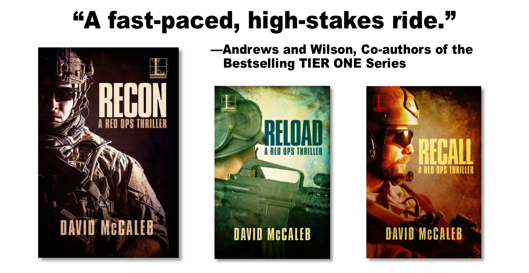 RECON book release, covers of three books in the RED OPS thriller series, with author blurb.