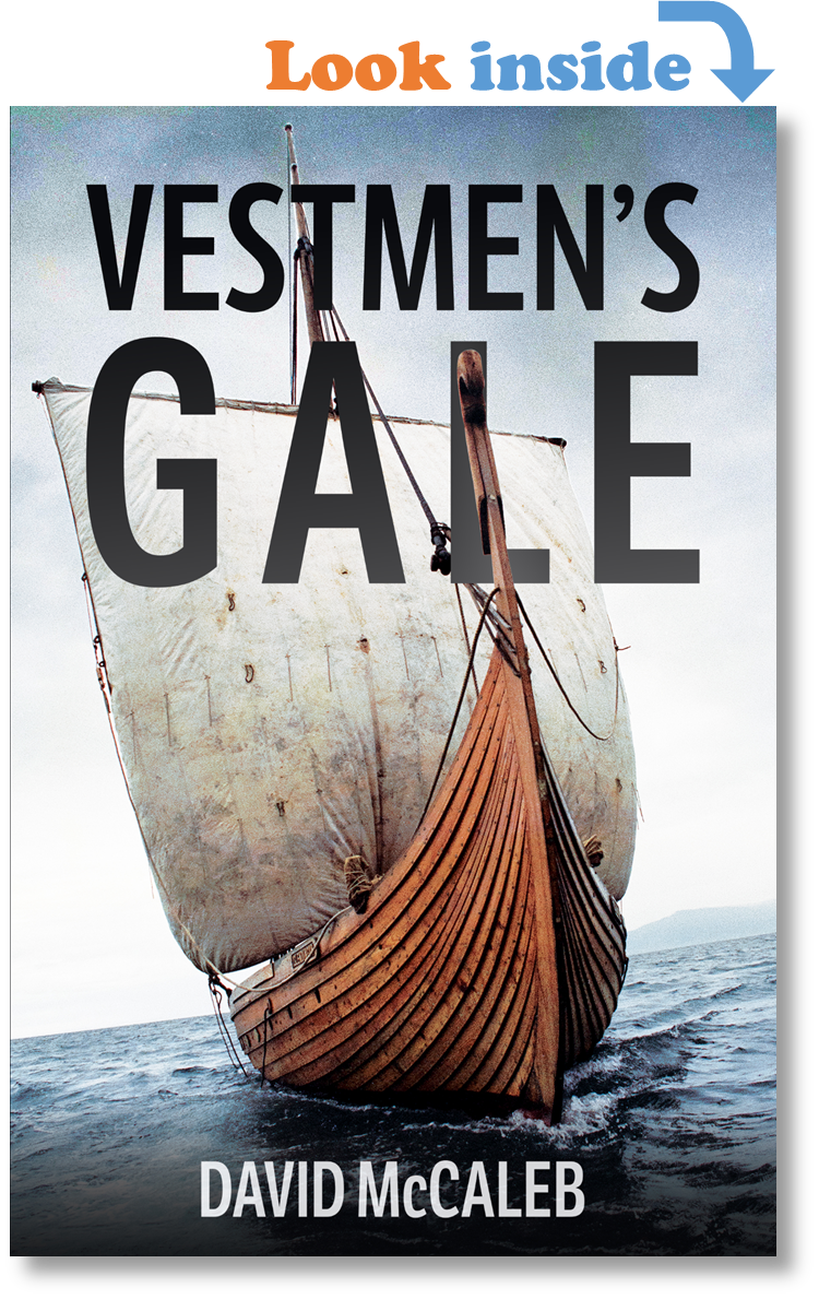 Book cover of Vestmen's Gale, featuring Viking ship Islendingur upon stormy seas.